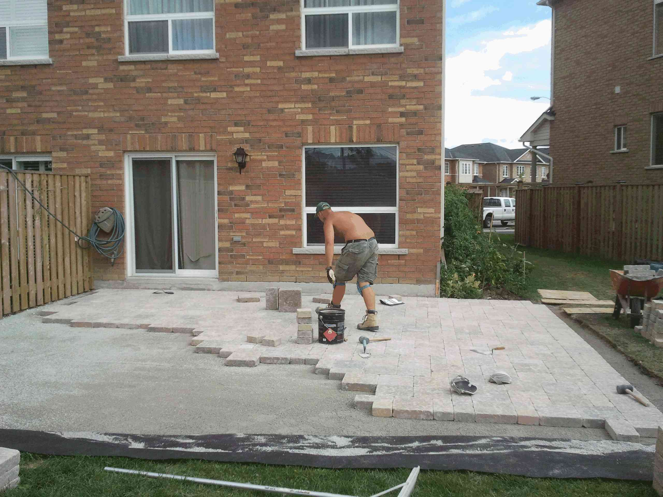 interlocking patio installation